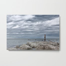 A cloudy day in Marina of Montemarciano, Italy Metal Print