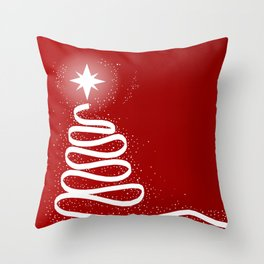 Red Scrible Christmas Tree Throw Pillow