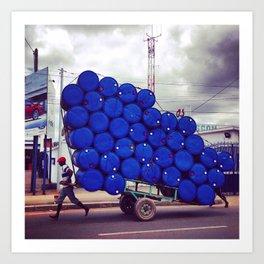 The Blue Drum Carrier Art Print
