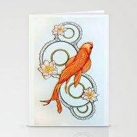 koi fish Stationery Cards featuring Koi Fish by Eleni Kakoullis
