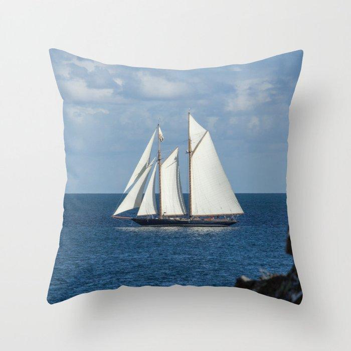 Blue Schooner 05 Throw Pillow