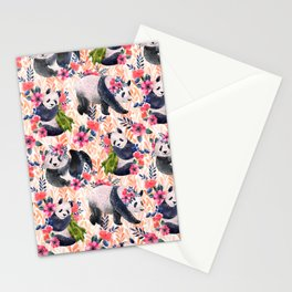 Watercolor pattern with pandas and flowers. Stationery Cards