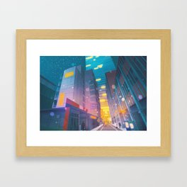 Silph Co. at night - Kanto in real life Framed Art Print