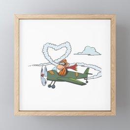 Funny monkey is flying heart with plane Framed Mini Art Print