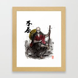 Samurai Captain Picard Parody/Crossover with Japanese Calligraphy Framed Art Print