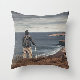 Man at Highs Contemplating The Landscape Throw Pillow