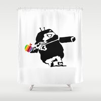 banksy Shower Curtains featuring Banksy + Android = Bankdroid by Williams Davinchi