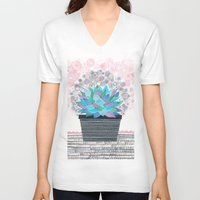 succulent V-neck T-shirts featuring succulent by Asja Boros