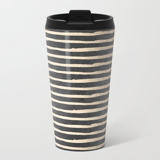White Gold Sands Thin Stripes on Black Metal Travel Mug