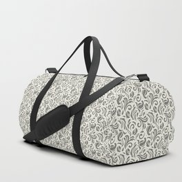 Floral Swirls Pattern in Charcoal on Aged White Duffle Bag