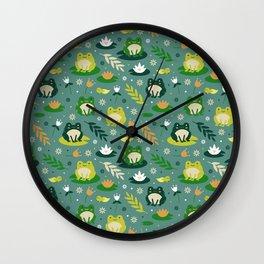 Cute little frogs pond pattern Wall Clock