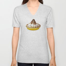 Lemon 'Merangutan' Pie - Orangutan Monkey in Lemon Meringue Pie Unisex V-Neck