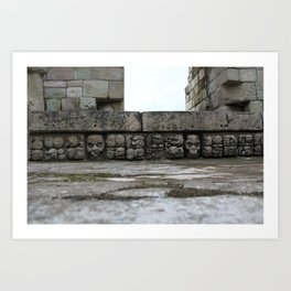 Ancient Mayan skull etching on stairs at the Ruinas de Copan in Honduras Art Print