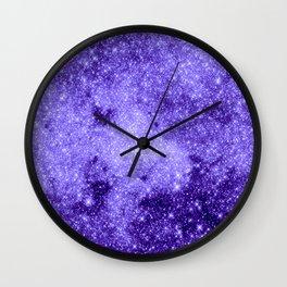 Lavender Galaxy Sparkle Stars Wall Clock