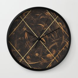 Gold & Paint Strokes 01 Wall Clock