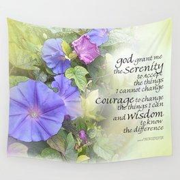 Serenity Prayer Morning Glories Glow Wall Tapestry