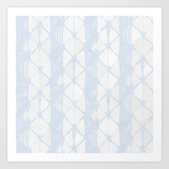 Simply Braided Chevron Sky Blue on Lunar Gray Art Print