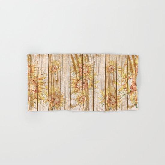 Vintage Sunflowers #9 Hand & Bath Towel