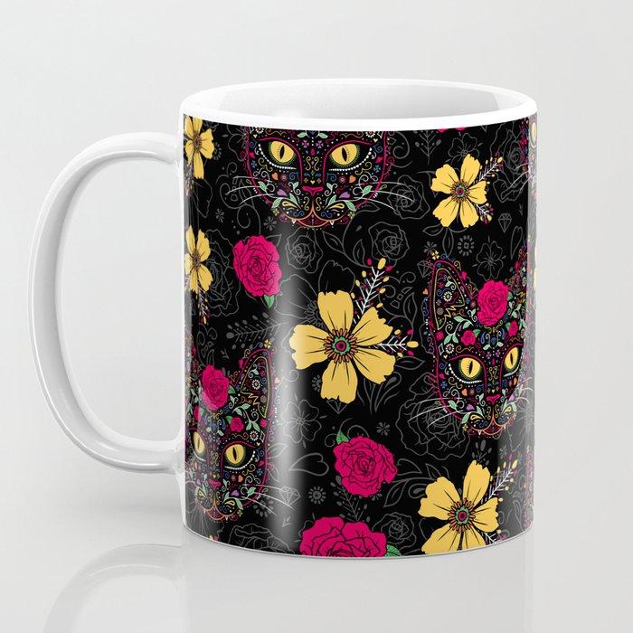 Day of the Dead Kitty Cat Sugar Skull Coffee Mug