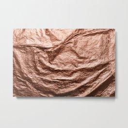 Rose gold draped foil Metal Print
