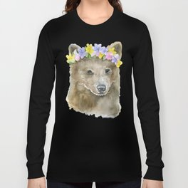 Brown Bear Floral Watercolor Long Sleeve T-shirt