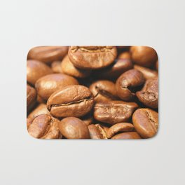 Roasted coffee beans macro Bath Mat
