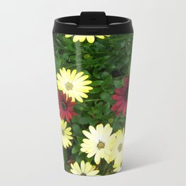 African Daisies Yellow and Red Metal Travel Mug