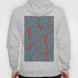 Turquoise and Red Leaves Pattern Hoody