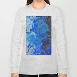 Storm Surge Blue and Brown Fluid Acrylic Abstract Painting Long Sleeve T-shirt
