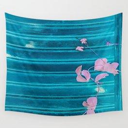 blue wooden wall pink jasmine minimal Wall Tapestry