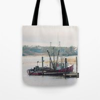 cape cod Tote Bags featuring Cape Cod Fishing Boat by ELIZABETH THOMAS Photography of Cape Cod