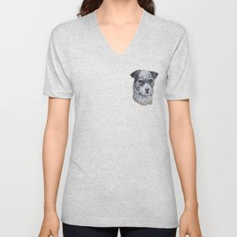 Terrier Mix Dog Portrait Unisex V-Neck