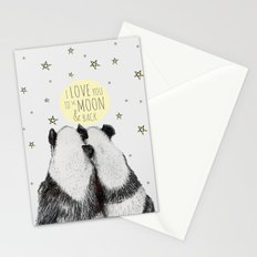 Pandas love to the moon & back Stationery Cards