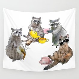 Racoon Tea Party Wall Tapestry