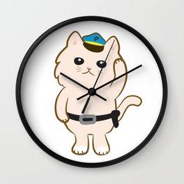 Animal Police - Cream cat Wall Clock