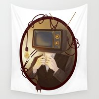 tv Wall Tapestries featuring TELEVISION by FISHNONES