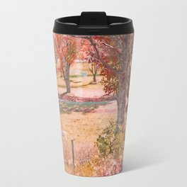White Horse with Orange and Green Autumn Colors Travel Mug