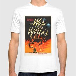 The War Of The Worlds HG Wells Retro Science Fiction Movie Poster T-shirt