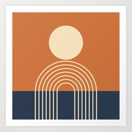 Geometric Lines in Terracotta Navy Blue (Sun and Rainbow abstraction) Art Print