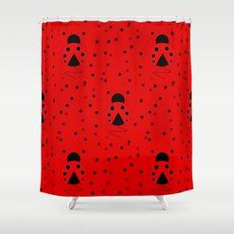 Ladybug Pattern Shower Curtain