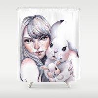 cuddle Shower Curtains featuring Cuddle! by Koanne Ko