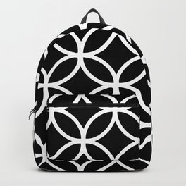 Vedic Geometric Circles with Diamonds White and Black Backpack