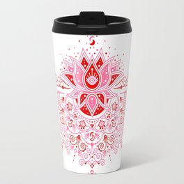 Lotus Blossom Mandala – Red & Pink Palette Travel Mug