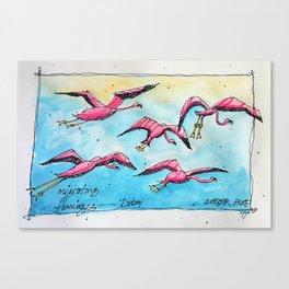 Flamingo Flyway - Dubai Canvas Print