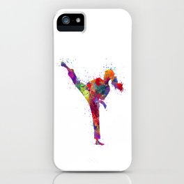 Karate Girl Colorful Watercolor Martial Arts Gift iPhone Case