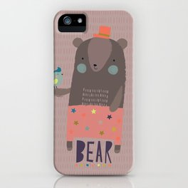 Big Bear and Bluebird Pink iPhone Case
