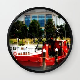 Little red tug Boat Wall Clock