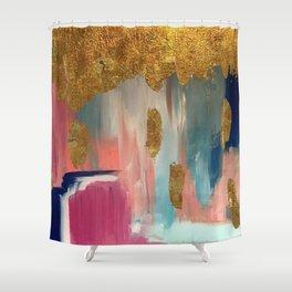 Gold Leaf & Indigo Blue Abstract Shower Curtain