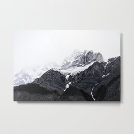 Moody snow capped Mountain Peaks - Nature Photography Metal Print