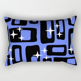 Retro Mid Century Modern Abstract Pattern 581 Black and Blue Rectangular Pillow